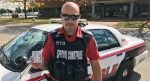 Fanshawe College Special Constable Mike Mahoney holds a naloxone kit in London, Ont. on Tuesday, Sept. 29, 2020. (Sean Irvine / CTV News)