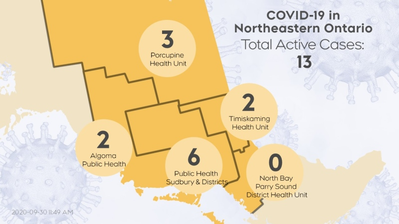 Map of where the active cases of COVID-19 are in northeastern Ontario. Sept 29/20 (CTV Northern Ontario)