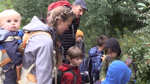 Students take part in a lesson at a 'forest school' in Kincardine, Ont. on Tuesday, Sept. 29, 2020. (Scott Miller / CTV News)