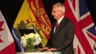 New Brunswick Premier Blaine Higgs is sworn in during a ceremony in Fredericton on Sept. 29, 2020. His new cabinet was also unveiled and sworn in during the ceremony.