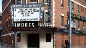 A prominent downtown Toronto strip club is seen on Tuesday, Sept. 29, 2020. Workers and advocates say Ontario's forced shutdown of their workplaces was done without consultation and applies an unequal standard to an already stigmatized industry.THE CANADIAN PRESS/Colin Perkel