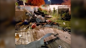 An SUV careened through a series of backyards in southeast Calgary late Sunday. (Courtesy Devin Dempsey)
