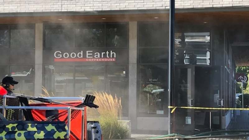 Witnesses say firefighters are at the scene of a fire located at the Good Earth Coffeehouse in Oak Bay. (CTV News)