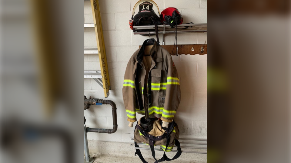 Mike Abaldo's uniform is shown in this photo. (Source: Tecumseh Fire Department)