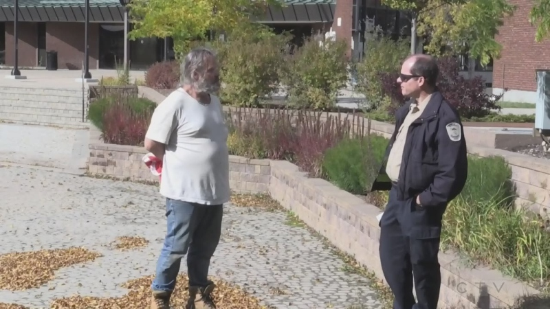 The homeless protest at North Bay city hall turned into a confrontation Tuesday with a city bylaw officer and crisis worker.