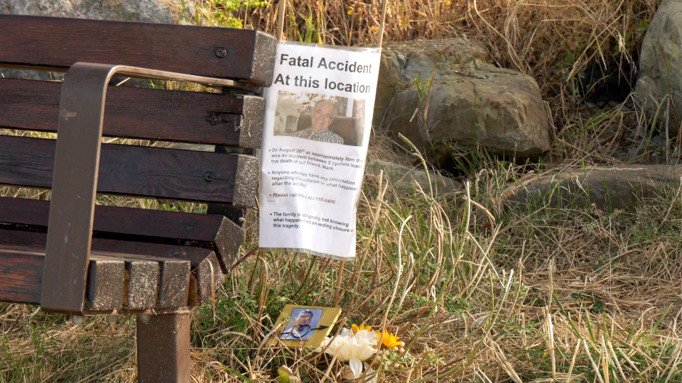 Poster up at the scene of a fatal cyclist collision August 26th