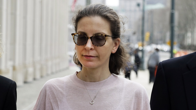 Clare Bronfman arrives at Brooklyn Federal Court in April 2019. (Mark Lennihan/AP/CNN)