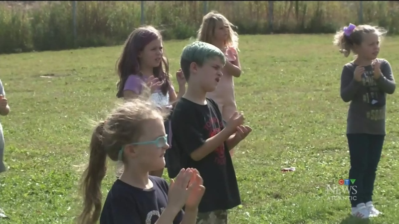 The Grade 2 students in Ashley Gouthro's class at Tompkins Elementary in Reserve Mines have been practising O Canada in sign language every day.