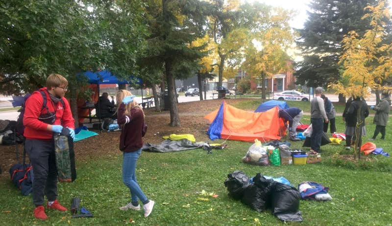 After a tense few days, a tent city located in front of North Bay city hall where homeless people had taken up residence is being cleaned up. (Eric Taschner/CTV News)