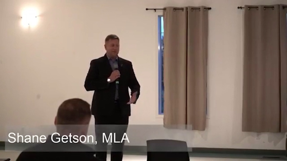 UCP MLA Shane Getson speaking at a public event. (Supplied: NDP)