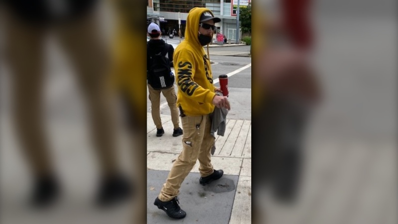 Police are asking for the public's help identifying three suspects involved in a possible hate crime near Metrotown SkyTrain Station on Sept. 26, 2020. (Handout)