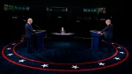 U.S. President Donald Trump and Democratic presidential candidate former Vice President Joe Biden participate in the first presidential debate Tuesday, Sept. 29, 2020, at Case Western University and Cleveland Clinic, in Cleveland, Ohio. (Olivier Douliery/Pool vi AP)