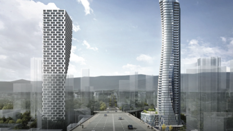 A proposed 55-storey tower on the northeast end of the Granville Street Bridge in downtown Vancouver, B.C., across from the Vancouver House development,  is seen in a rendering. (Pinnacle International)