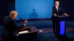 President Donald Trump speaks during the first presidential debate against Democratic presidential candidate former Vice President Joe Biden, Tuesday, Sept. 29, 2020, at Case Western University and Cleveland Clinic, in Cleveland, Ohio. (AP Photo/Morry Gash, Pool)