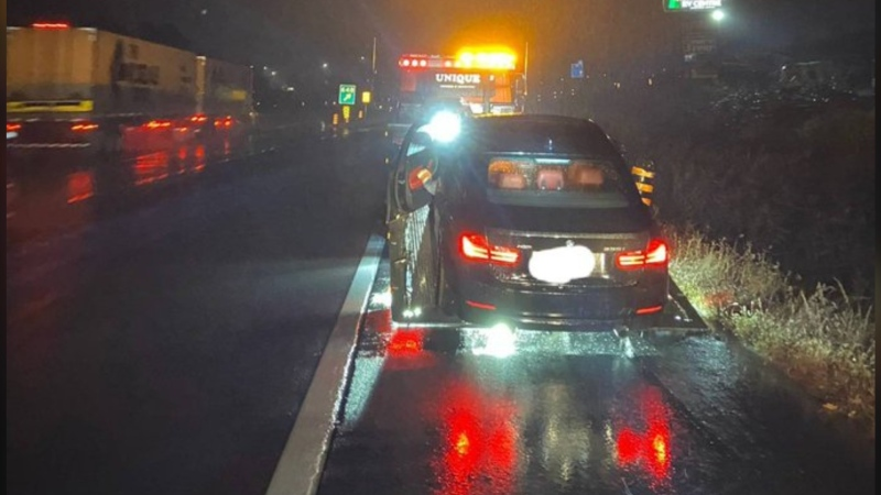 Ontario Provincial Police say a G2 driver was stopped on Highway 401 early Wednesday, Sept. 30, 2020, going 158 km/h with a bong on his lap. (Photo by Ontario Provincial Police)