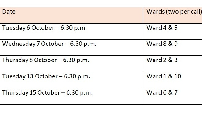 Schedule for Windsor telephone ward meetings. (Source: City of Windsor)