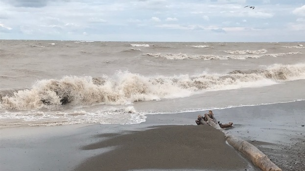 The waves were beginning to build in Port Bruce, Ont. as of 9 a.m. on Wednesday, Sept. 30, 2020. (Sean Irvine / CTV London)