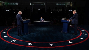 President Donald Trump and Democratic presidential candidate former Vice President Joe Biden participate in the first presidential debate Tuesday, Sept. 29, 2020, at Case Western University and Cleveland Clinic, in Cleveland. (Olivier Douliery/Pool vi AP)
