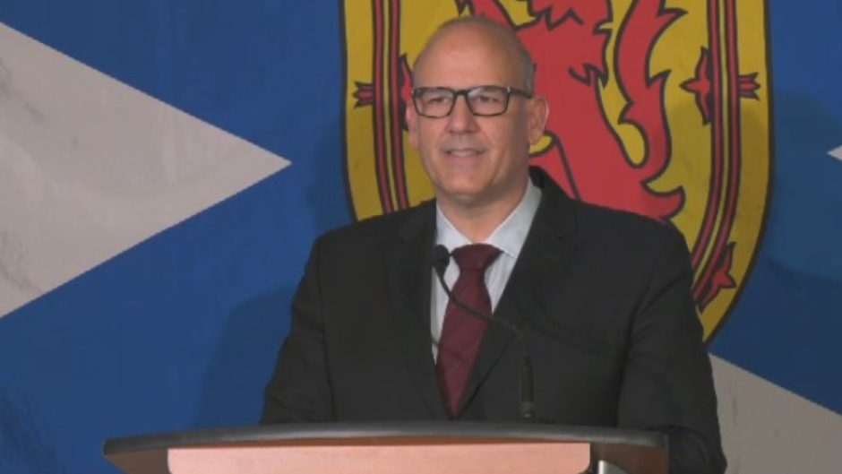 Labi Kousoulis, the minister of labour and advanced education, launches his candidacy for leader of Nova Scotia's Liberal Party in Halifax on Sept. 30, 2020.