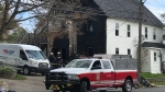 A house that contained four apartments was badly damaged by fire in North Sydney, N.S., on Sept. 29, 2020. (Kyle Moore/CTV Atlantic)