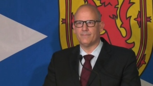 Labi Kousoulis, the minister of labour and advanced education, officially enters the Nova Scotia Liberal leadership race in Halifax on Sept. 30, 2020