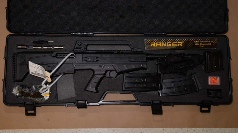 One of the weapons seized by St. Albert RCMP after an arrest outside the Century Casino (RCMP image)