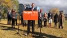NDP leader Ryan Meili speaks in Saskatoon on Sept. 30, 2020. (Chad Hills/CTV Saskatoon)