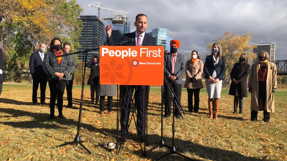 NDP leader Ryan Meili speaks in Saskatoon on Sept. 30, 2020. (Chad Hills/CTV Saskatoon)