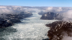 If greenhouse gas emissions continue unabated, the Greenland ice sheet will shed some 36 trillion tonnes of mass from 2000 to 2100, enough to lift the global ocean waterline by 10 centimetres, according to a new study. (AFP)