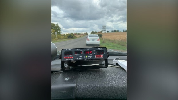 Police say a driver was clocked going 149 km/h in an 80 zone (Twitter: OPP West Region)