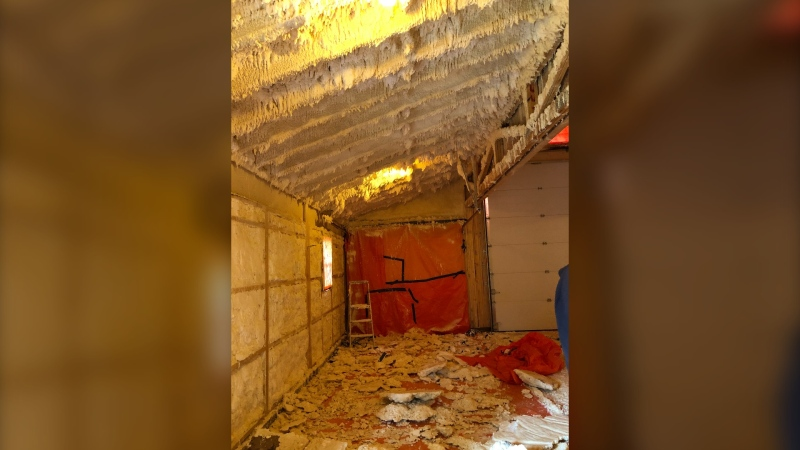 Bob and Noreen Leasak had a hard lesson in the nuances of the spray foam industry after enlisting the help of a contractor that left what they say was 'a mess' inside their barn. (Supplied)