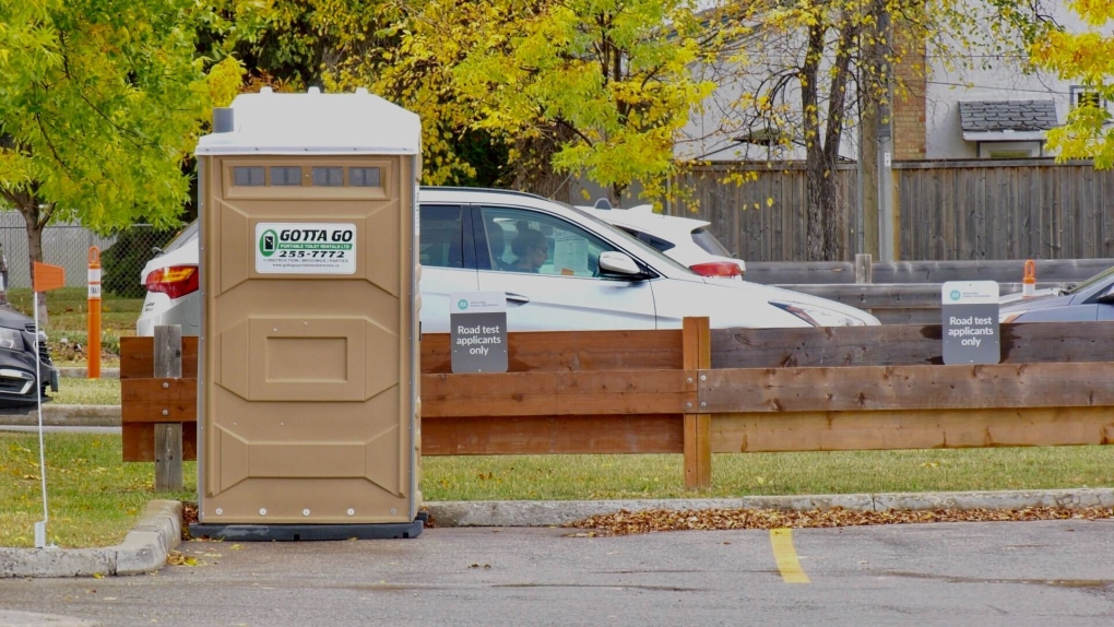 Testing site porta-potty