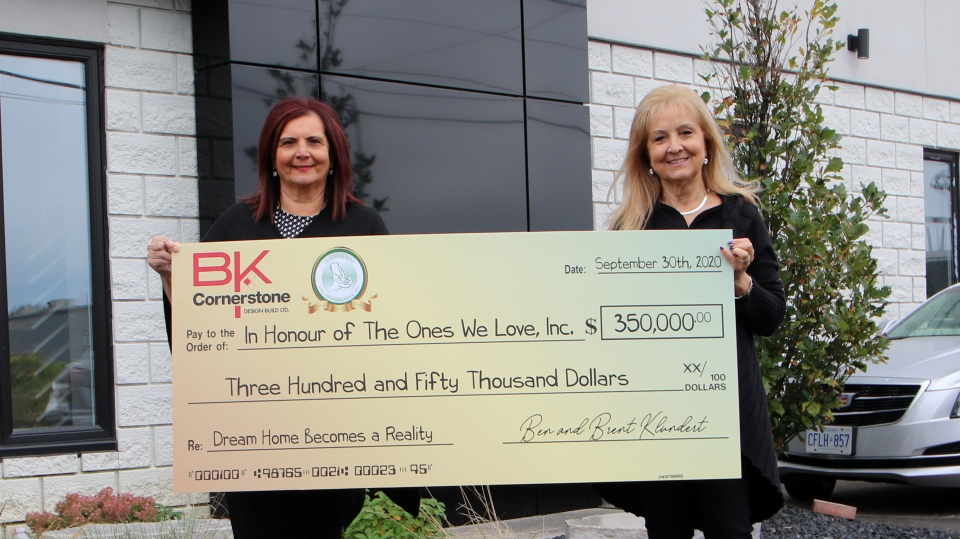 B.K. Cornerstone presented a $350,000 cheque to In Honour of the Ones We Love in Windsor, Ont. on Wednesday, Sept. 30 2020. (courtesy In Honour of the Ones We Love)