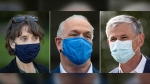 In this three panel photograph, from left to right, Green Party Leader Sonia Furstenau, NDP Leader John Horgan and Liberal Leader Andrew Wilkinson wear face masks to curb the spread of COVID-19, during campaign stops in September 2020. (Darryl Dyck / THE CANADIAN PRESS)