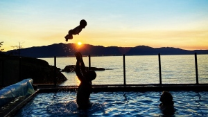 """""""Soaking up September!"""" submitted by Sally Benner. Description: """"Myself, my son and grandson playing in our pool Sept. 29, 2020!  location is Halfmoon Bay at Burchill's B&B."""""""