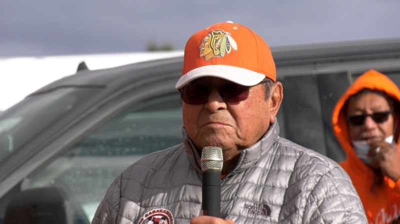 Fred Sasakamoose speaks in Prince Albert on Sept. 30, 2020. (Lisa Risom/CTV Prince Albert)