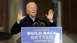 Democratic presidential candidate former Vice President Joe Biden speaks at the Amtrak Johnstown Train Station, Wednesday, Sept. 30, 2020, in Johnstown, Pa. (AP Photo/Andrew Harnik)