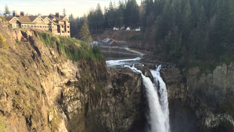 "The Salish Lodge and Spa, which was used in the filming of the TV series ""Twin Peaks,"" is seen in Snoqualmie, Wash. in February 2015."