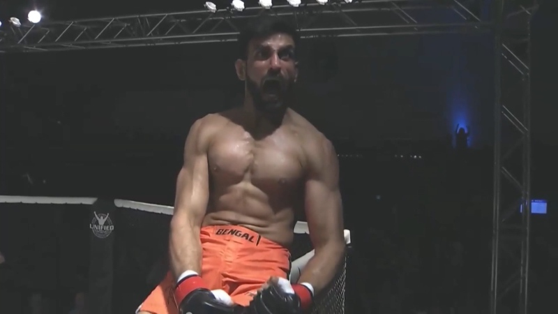 K.B. Bhullar after a fight. (Source: Unified MMA)
