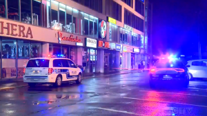 Montreal police quickly put out a fire started by a Molotov cocktail in Montreal North early Thursday, Oct. 1, 2020.