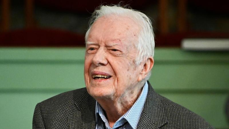 In this Nov. 3, 2019, file photo, former President Jimmy Carter teaches Sunday school at Maranatha Baptist Church in Plains, Ga. (AP Photo/John Amis, File)