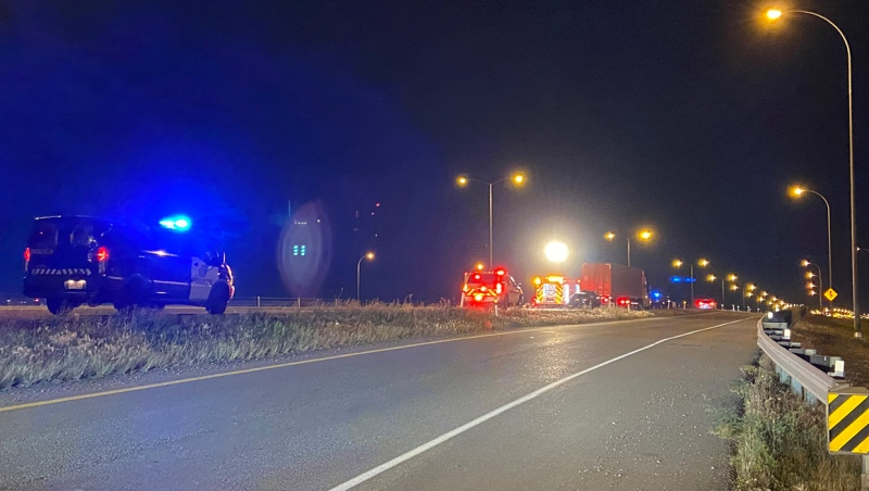 Emergency crews on scene of a fatal crash in the northbound lanes of Stoney Trail near the 114th Avenue S.E. interchange.