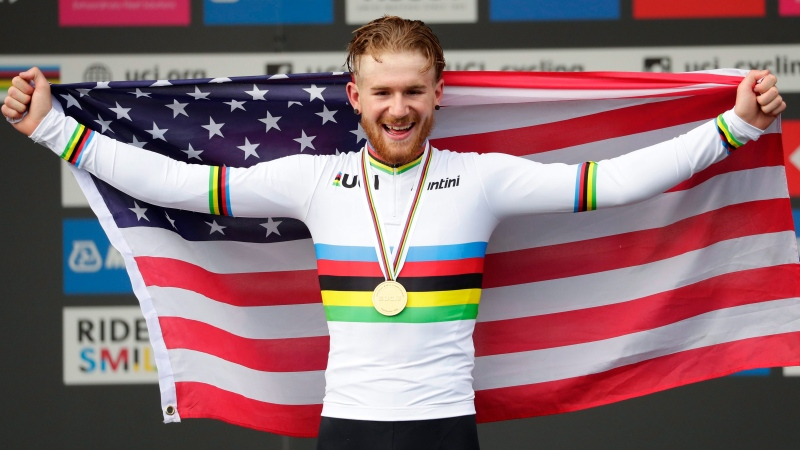 United States' Quinn Simmons celebrates winning the men junior event, at the road cycling World Championships in Harrogate, England, Thursday, Sept. 26, 2019. (AP Photo/Manu Fernandez)
