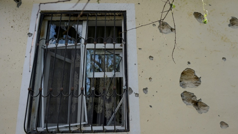 A household damaged by shelling during fighting in the last few days between Armenia and Azerbaijan over the breakaway Nagorno Karabakh region. The house is in Zorocuq in Azerbaijan's Füzuli district. (AFP)