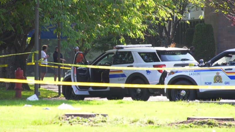Police taped off an area at Trinity Western University after an incident between a man and campus security.