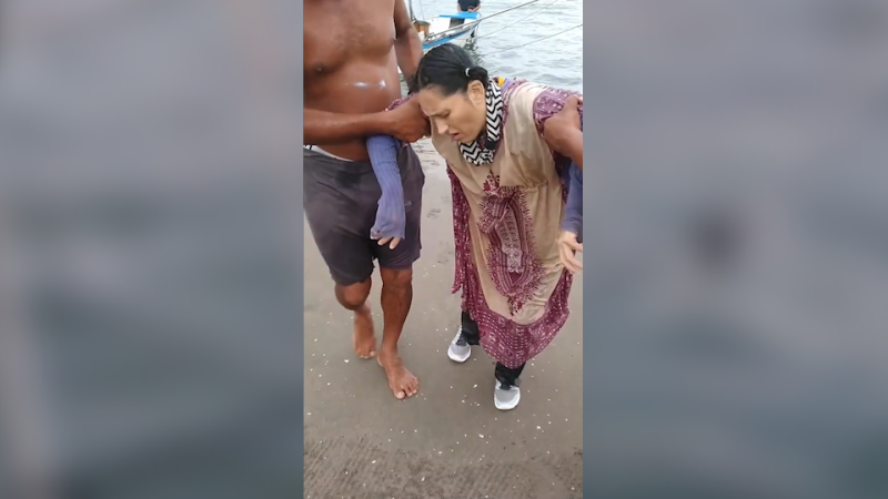 Screenshot taken from a video showing Angélica Gaitán, a woman who was found alive and rescued by fishermen who discovered her floating in the Caribbean Sea off the coast of Colombia on Sept. 26, 2020 – two years after her family had reported her missing. (Credit: Rolando Visbal via Storyful)