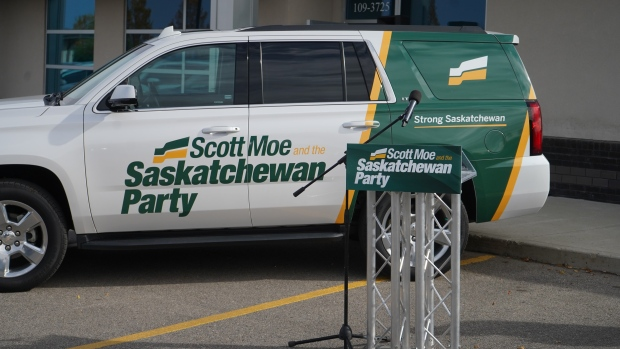 Scott Moe announced the Sask. Party's platform for the 2020 election on Tuesday, Sept 29, 2020. (Marc Smith / CTV News Regina)