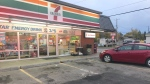 Police say a senior made a mistake while parking his car and ended up driving through the store front of a 7-Eleven on Oct. 1, 2020, near 149 Street and 95 Avenue.