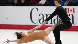 Carolane Soucisse and Shane Firus compete during the senior ice dance free program at the 2020 Canadian Tire National Skating Championships in Mississauga, Ont., on Jan. 18, 2020. (Hans Deryk / THE CANADIAN PRESS)