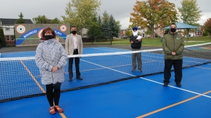 From left to right: Mayor Kathryn McGarry, Deputy City Manager Yogesh Shah, Santokh Singh Sidhu – Member of the Witmer Park Seniors Association, and Ward 8 Coun. Nicholas Ermeta at the reopening of Witmer Park following park upgrades. (Course: City of Cambridge)